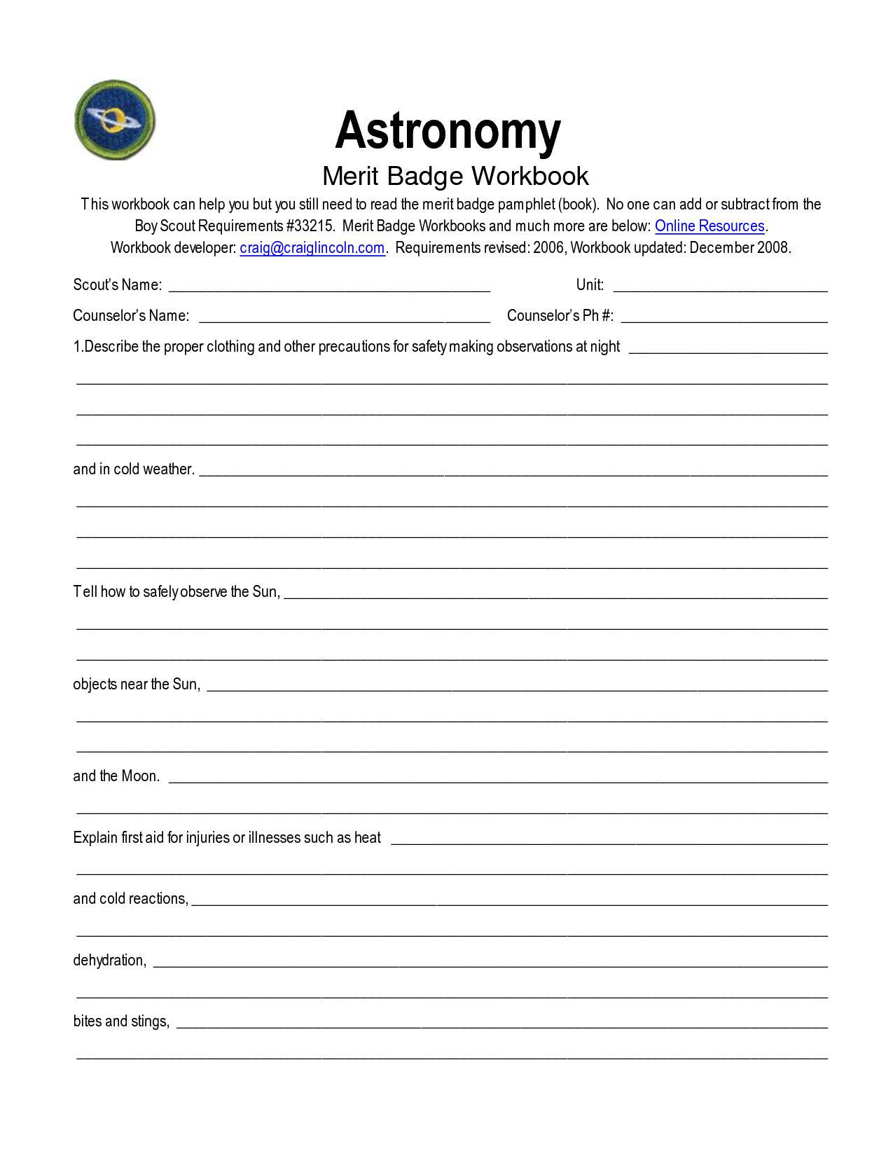 Astronomy Merit Badge Worksheet