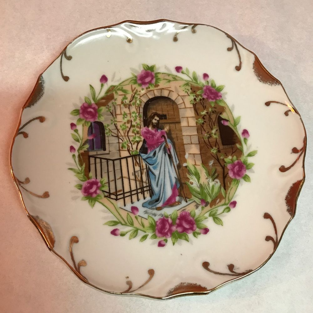 Jesus Knocking At The Door 8in Collectors Plate With 18k
