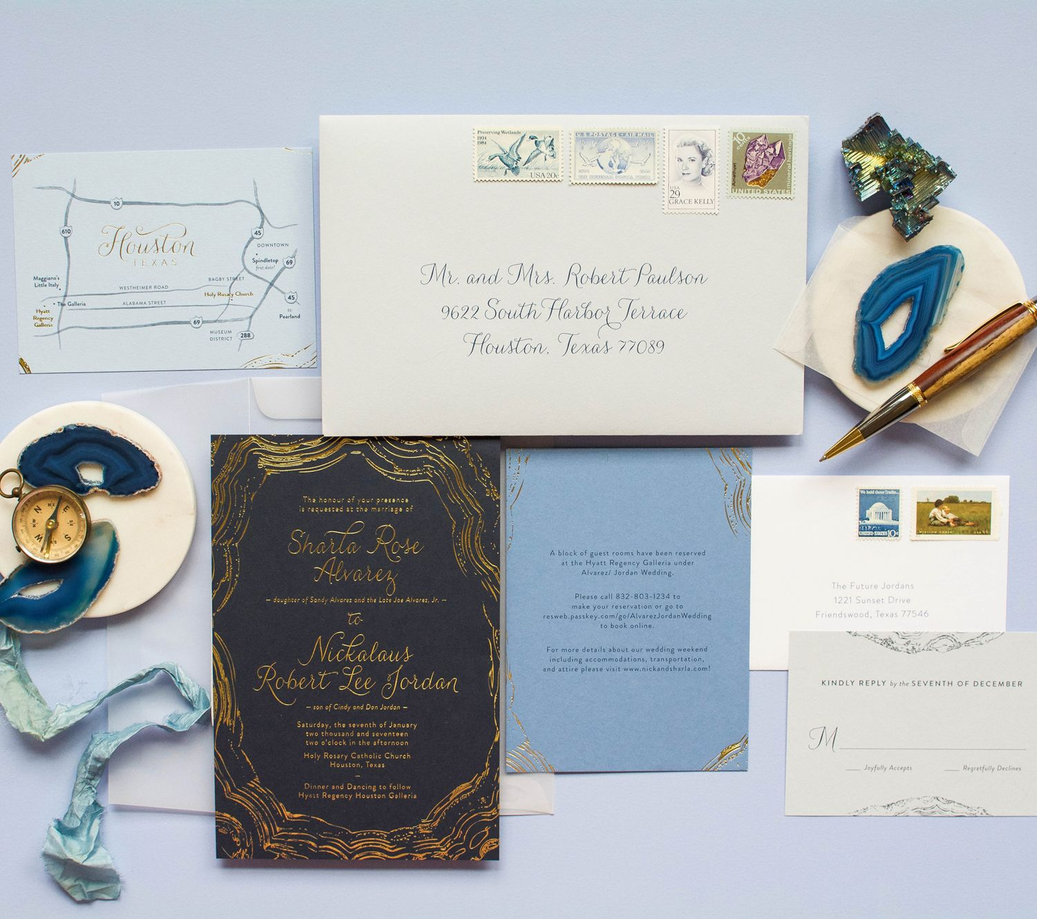 Modern navy and gold foil agate geode custom wedding invitation with ...