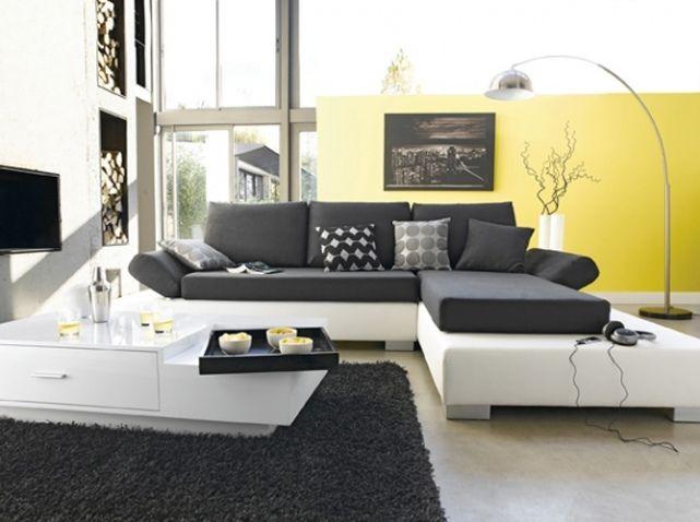 salon noir blanc mur jaune | déco bureau | pinterest | salon noir