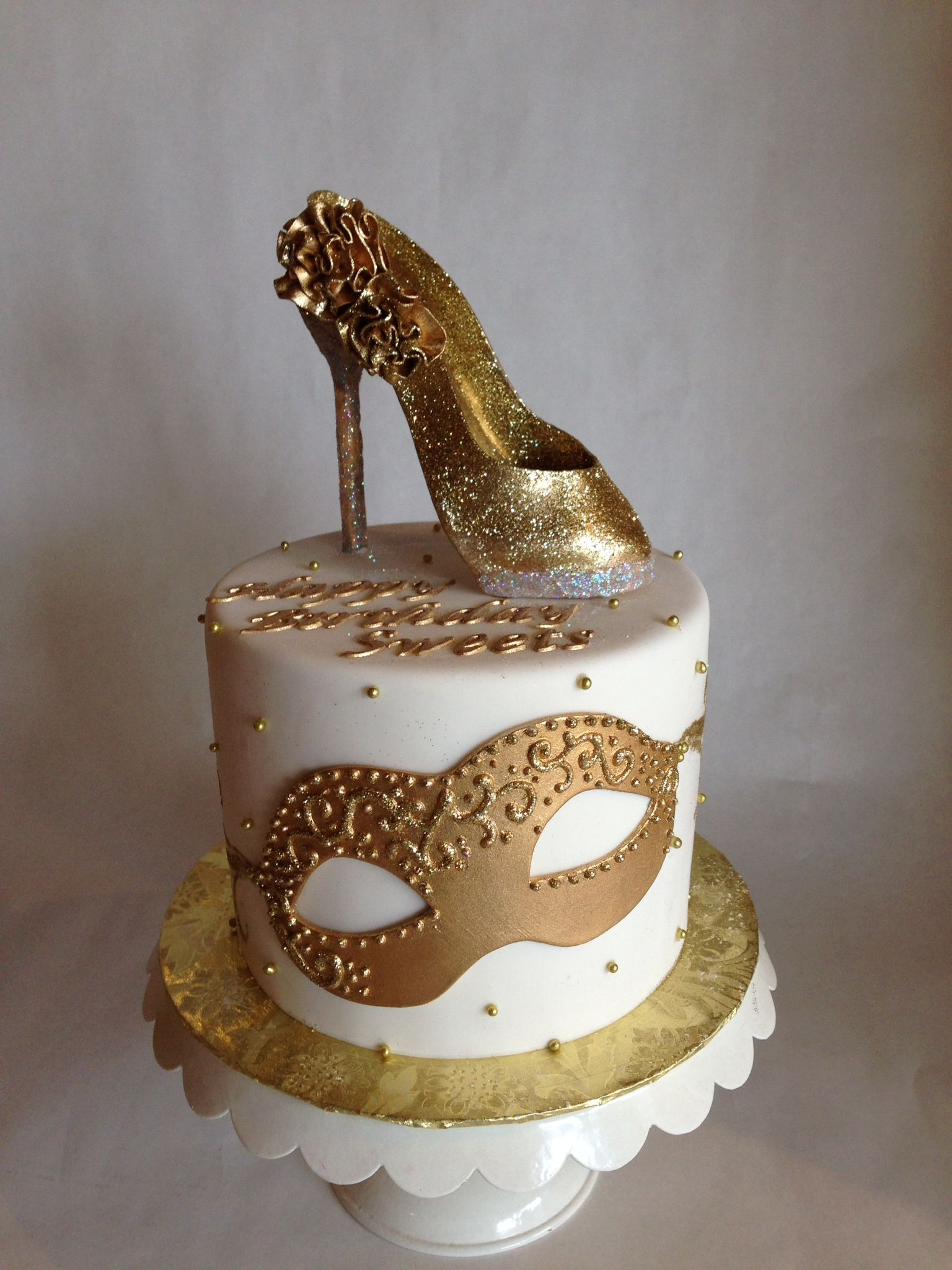 Birthday Cake Images Gold : Glam birthday cake gold high heel masquerade glitter ...