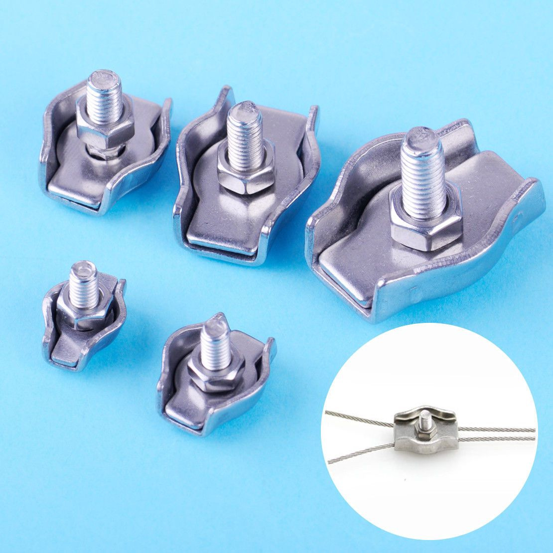 10X Simplex Marine 304 Stainless Steel Wire Rope Grip Cable Clamp M2 ...