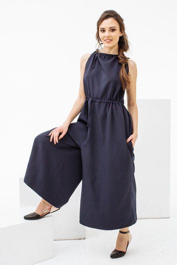 fb44edf520c5 Dark blue jumpsuit for summer spring jumpsuit free cut jumpsuit womens  jumpsuit nadi renardi jpg 570x855
