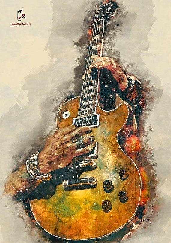 "Slash E-Gitarre 12 x 16 ""Gitarre Kunst, Musik Wandkunst, Musik Poster, Musik Raumdekorat... #electricguitars"