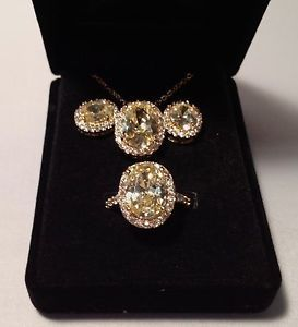 Yellow Citrine Cubic Zirconia Cocktail Ring Earrings Necklace Pendant Set of 3