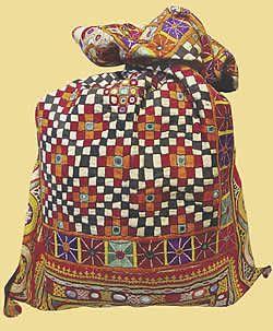 fine embroidery by artist kakuben jivan of gujarat, india at santa fe international folk art market