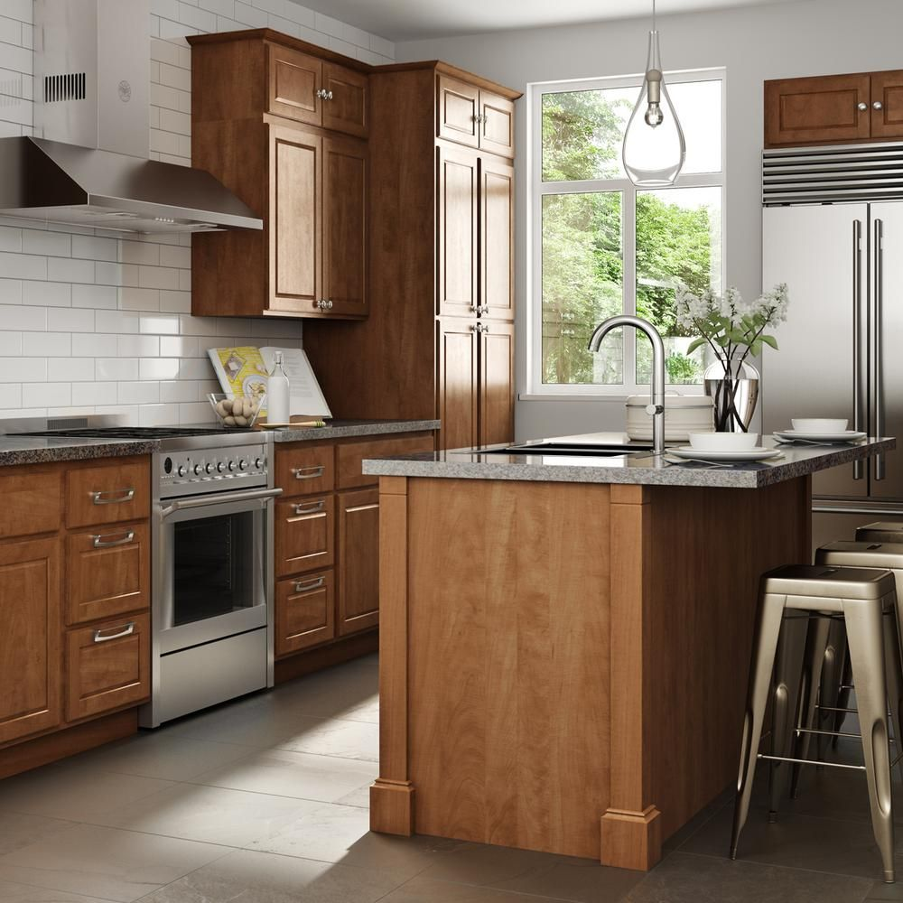 Madison Honey Assembled Kitchen Cabinets In 2020 Assembled Kitchen Cabinets Kitchen Cabinets Kitchen
