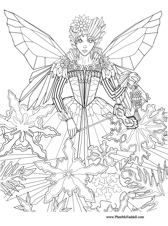 Image detail for Ice Fairy Princess Coloring and Craft Page