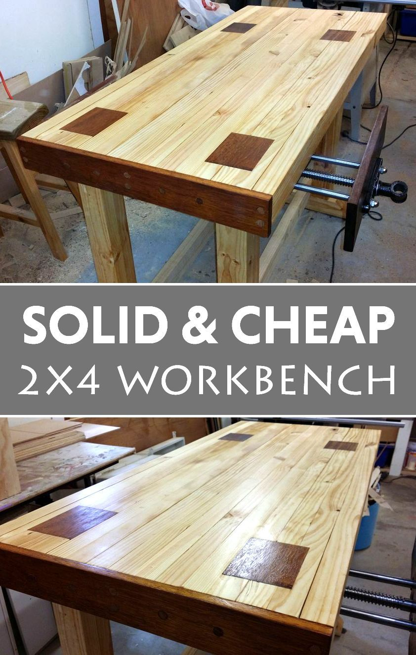a solid and cheap 2x4 workbench garage pinterest travail du bois menuiserie et atelier. Black Bedroom Furniture Sets. Home Design Ideas