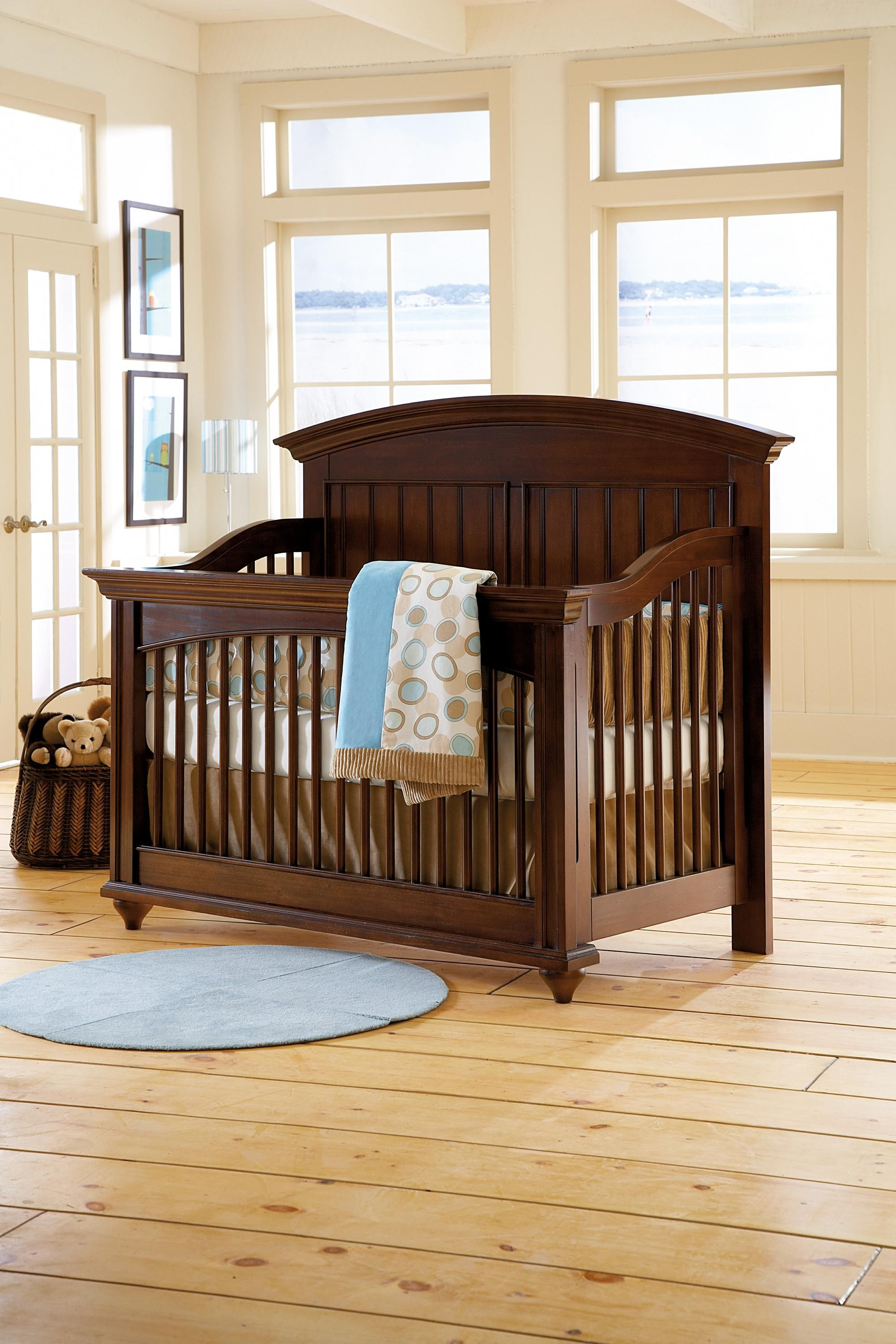 This crib design is unique mixing curves with straight lines and