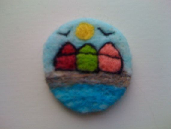 Needle felted beach huts brooch by fantasytextiles on Etsy, £5.95