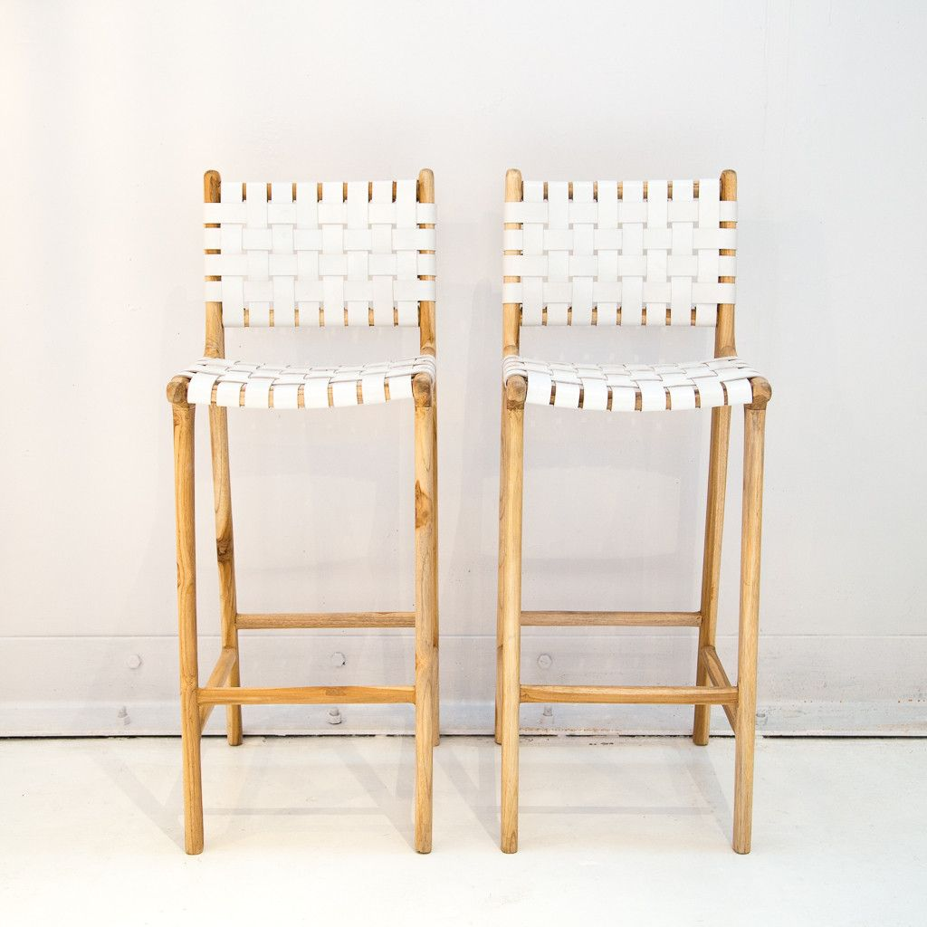 Leather Weave Bar Stool With Back Support White Woven Bar