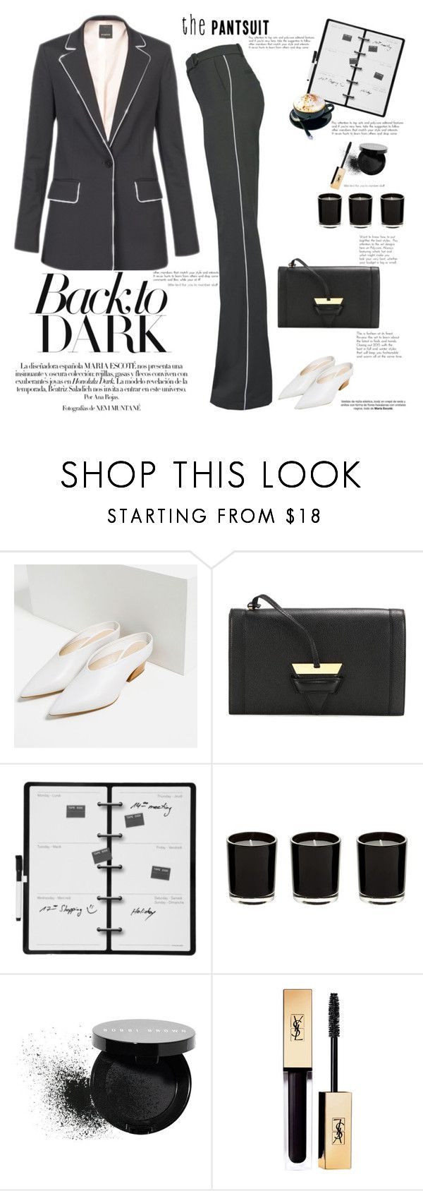 """""""Back to dark"""" by naki14 ❤ liked on Polyvore featuring Pinko, Zara, Loewe, Kikkerland, Bobbi Brown Cosmetics, trend, suitup, thepantsuit and pinkoofficial"""