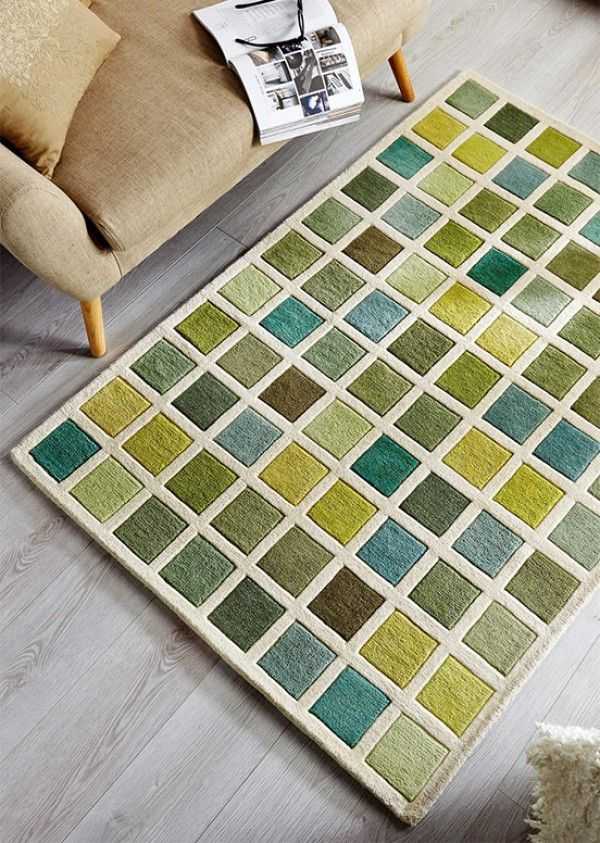 Illusion Campari Green Cream Rug Wool Rugs For Uk