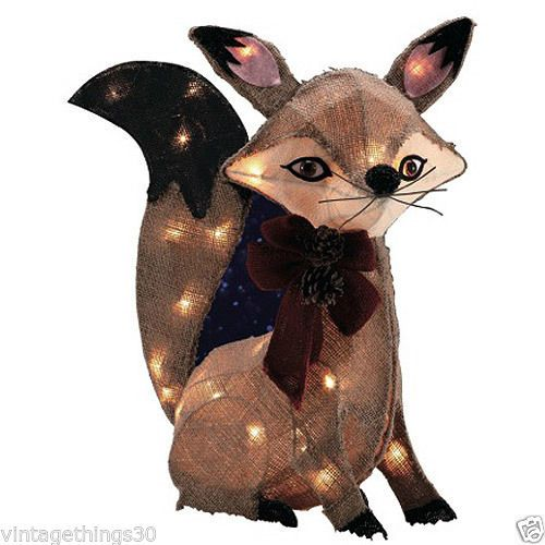 Lighted Burlap Christmas Decorations: Sly Lighted Christmas Fox Indoor Outdoor Christmas Decor