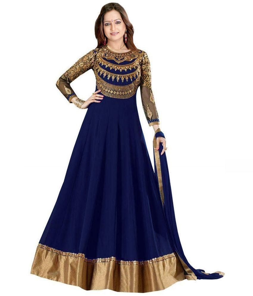 4cd1c261b3 Dhruva Fab Navy Georgette Anarkali Gown Semi Stitched Suit Price in India -  Buy Dhruva Fab Navy Georgette Anarkali Gown Semi Stitched Suit Online at ...