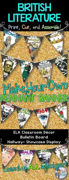 English classroom decor british literature make your own pennant banner is part of Ela Classroom decor - English Language Arts Classroom Decor British Literature Make Your Own Pennant Banner This English language arts classroom decor helps you bring enthusiasm to your common core literacy lessons all year long! Includes Ready for you to easily line up by using the directions on how to assemble