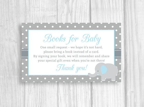 printable baby shower book request cards sheet of books for baby cards blue and gray elephant boys baby shower