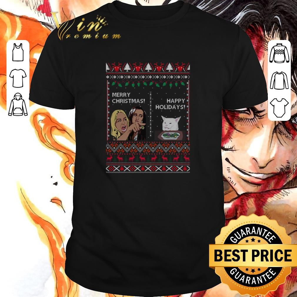Premium Merry Christmas happy holidays Woman yelling at a