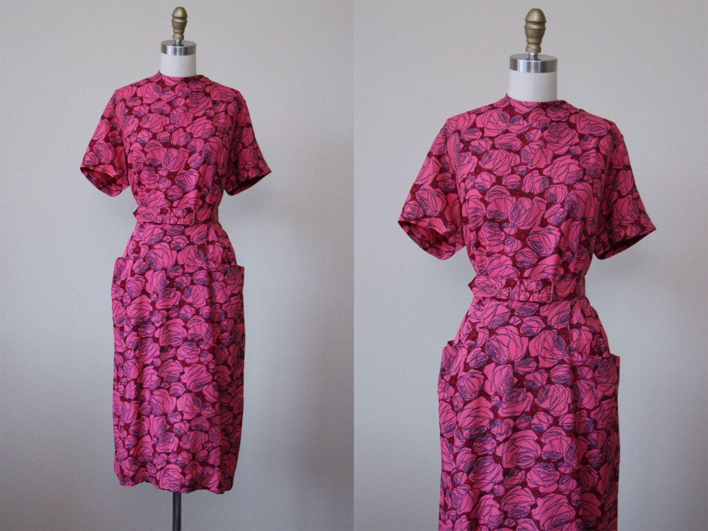 1950s Dress - Vintage 50s Dress - Hot Pink Red Rose Print Jersey ...