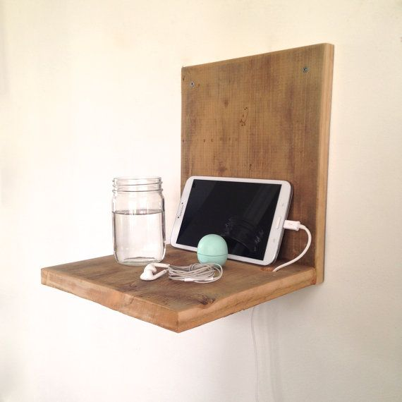 Wall mounted nightstand reclaimed wood nightstand for Wall mounted nightstand diy