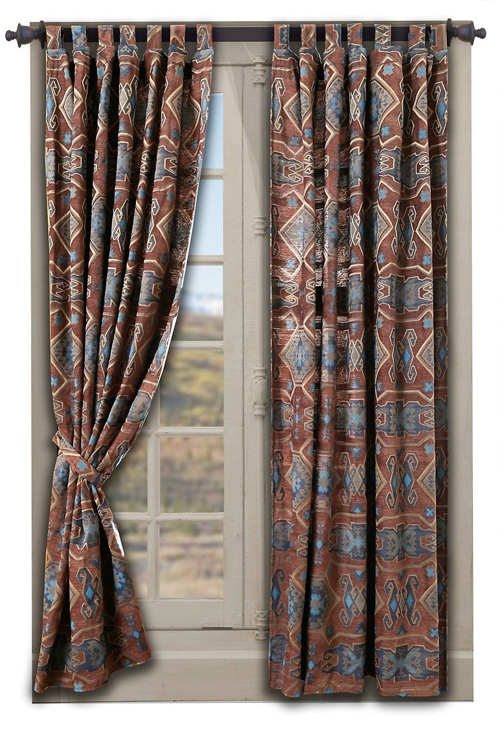 Southwestern Curtains In Native American Patterns Southwestern Curtains Curtains Drapes Curtains #western #living #room #curtains