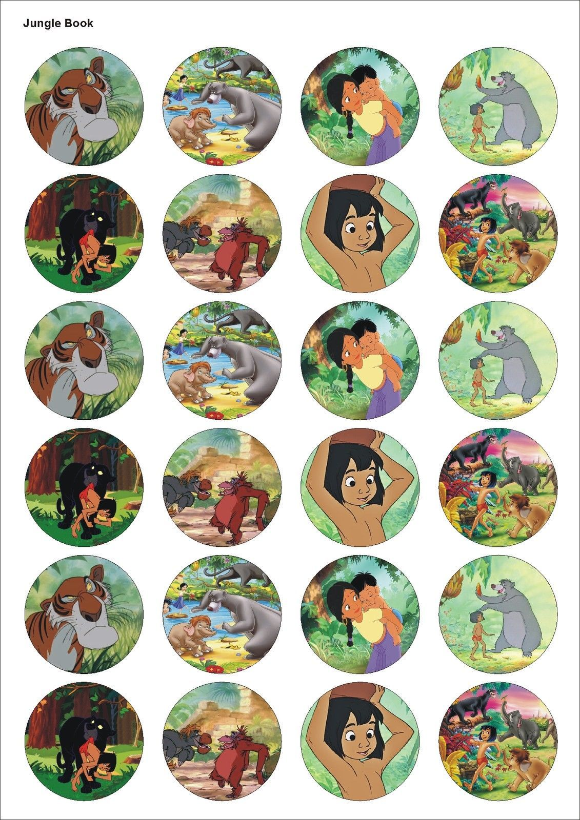 24 Precut Jungle Book Film Kids Birthday Edible Party Cupcake Cake Toppers In Crafts Cake