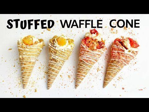 *NEW* STUFFED WAFFLE CONES 2020 | Strawberry & Peach Cobbler STUFFED WAFFLE CONES (No CHEESECAKE)