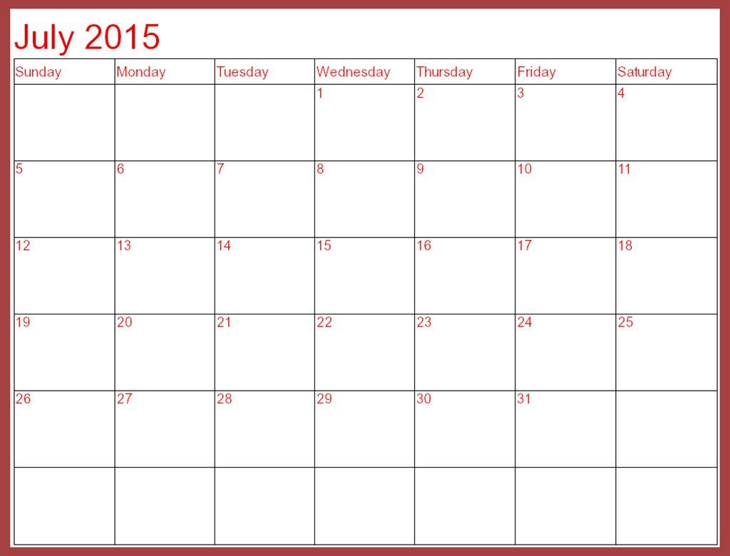 Printable July 2015 Calendar Template 2015 Calendar Printable Calendar 2015 Template Printable