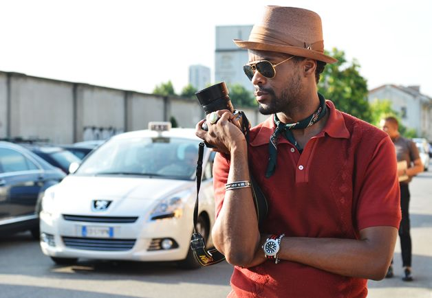 It's often the accessories that make the outfit: the bandana, old-school aviators, fedora worn at a rakish angle, and bracelets turn a boring red polo into a sharp outfit.