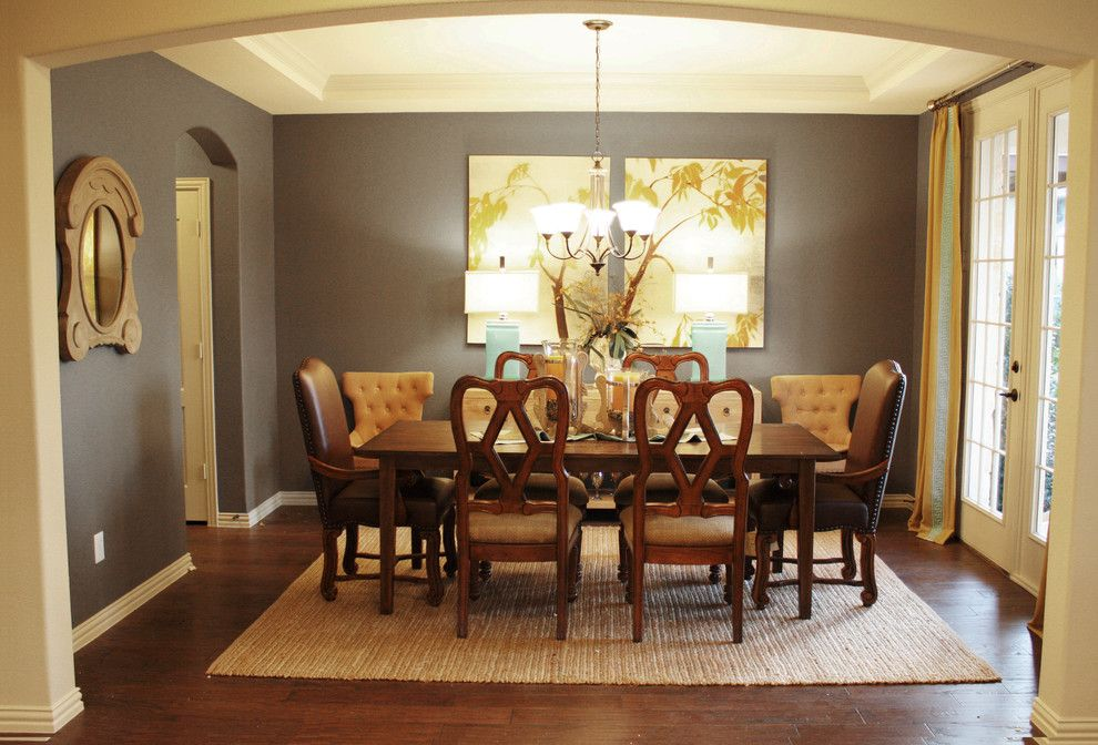 Farmhouse Interior Paint Colors Dining Room Traditional With Natural Rug Nailhead Trim