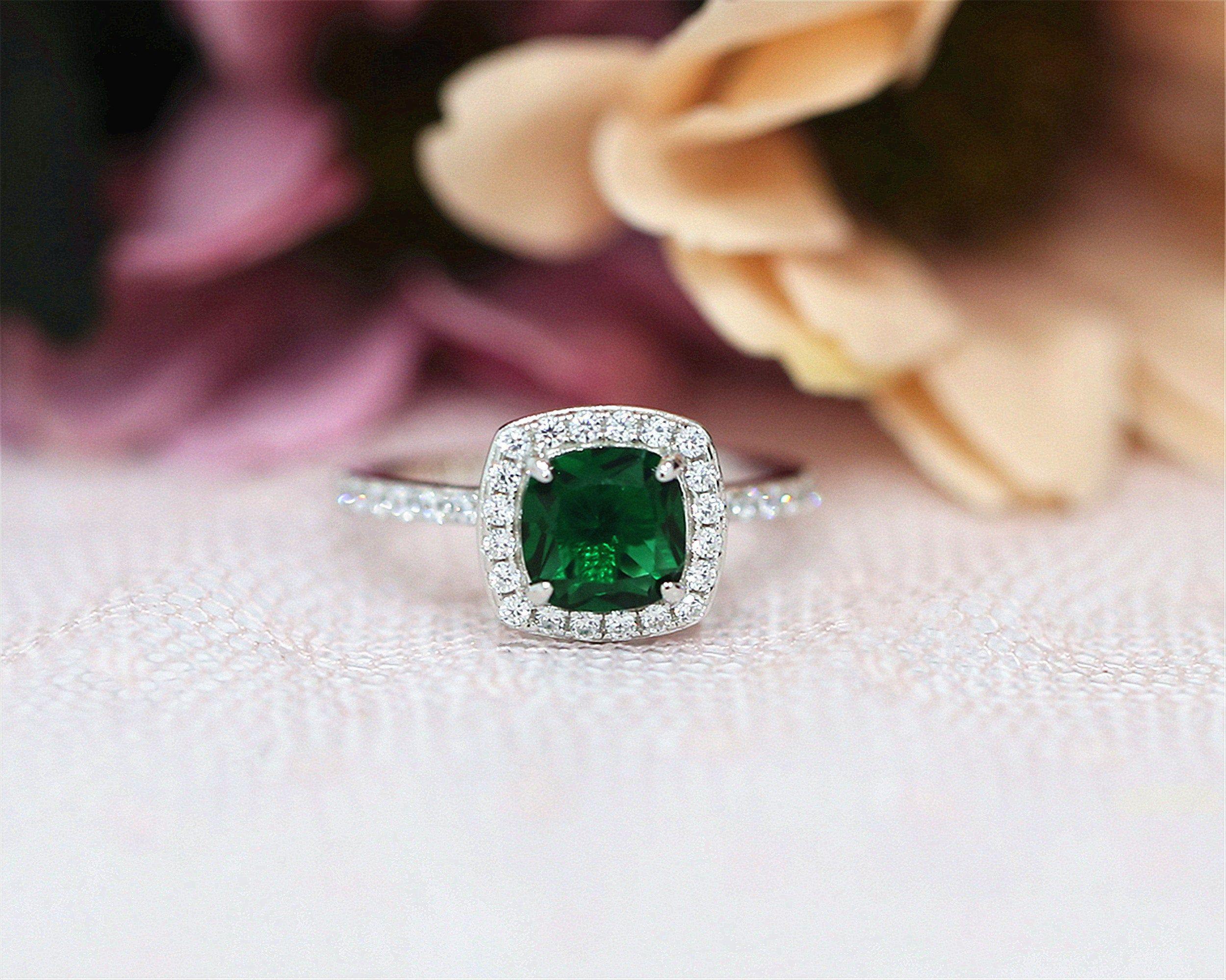 Lab Created Emerald 7*7mm Ring Cushion Cut Engagement Ring Handmade Sterling Silver Ring Gemstone Ring Bridal Ring