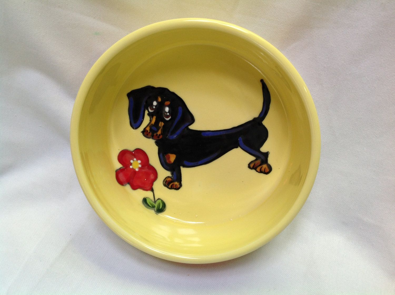 Dachshund Dog Hand Painted Dog Bowl Trophy Ceramic