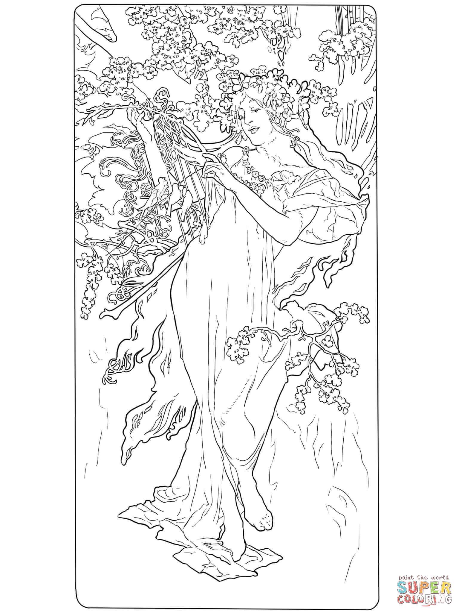 Primavera di Alphonse Mucha | Super Coloring | Mandala persone ...