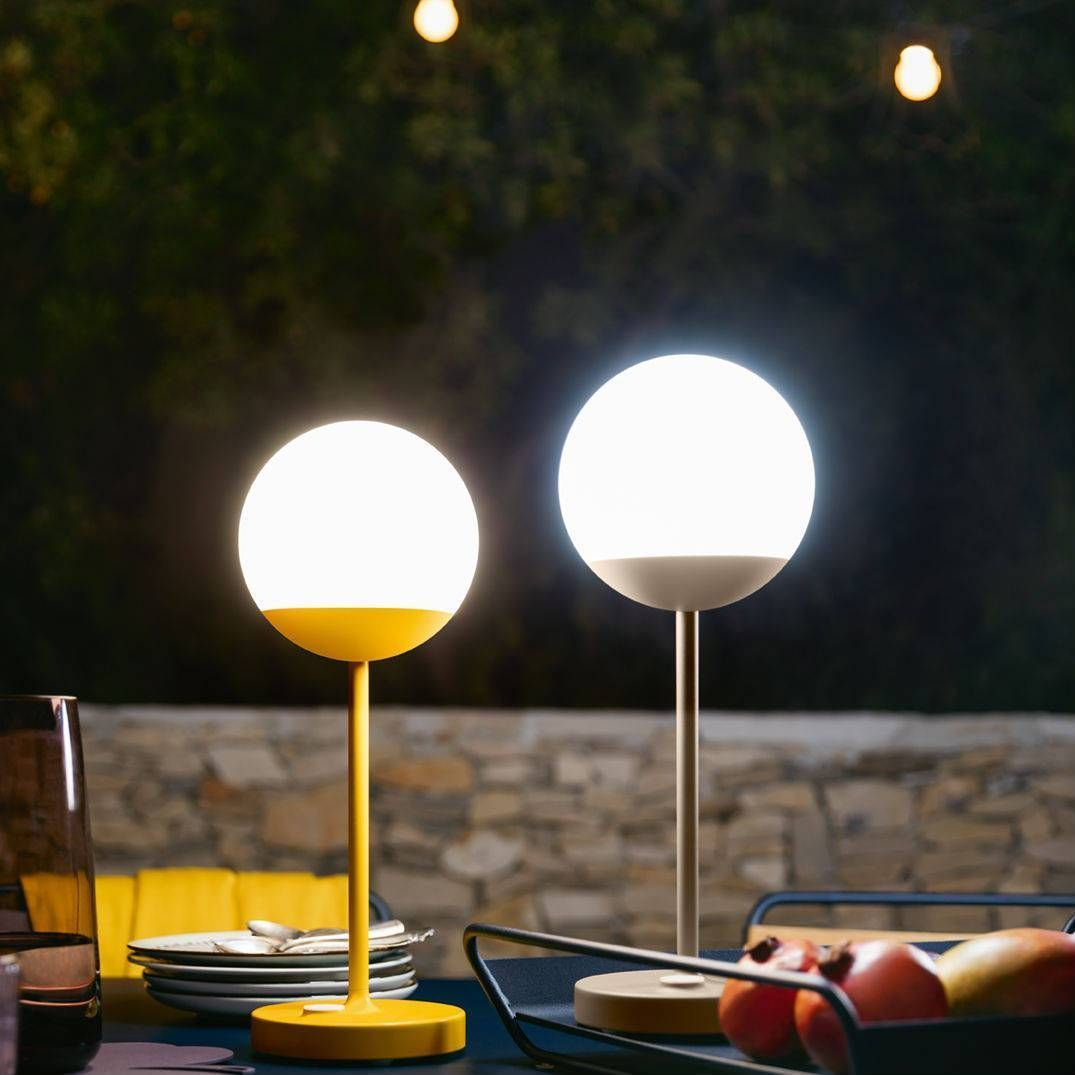 Lampe Led Table Exterieur Lampe Nomade Led D Extérieur Rechargeable Miel H40cm Mooon