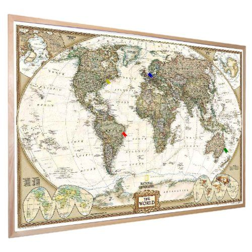 National geographic antique world pinboard map wood framed with flag national geographic antique world pinboard map wood framed with flag pins 36 x 24 gumiabroncs Image collections