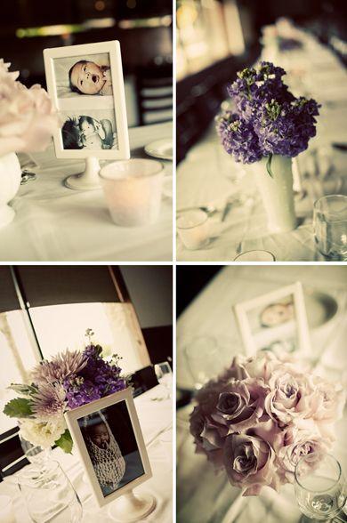 Centros de mesa en tonos lila y morados. #Bautizo #Niña