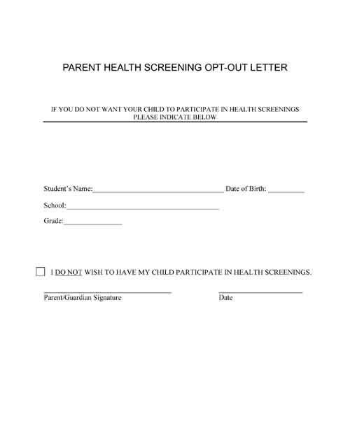 Health Screening Opt-out Letter For School.