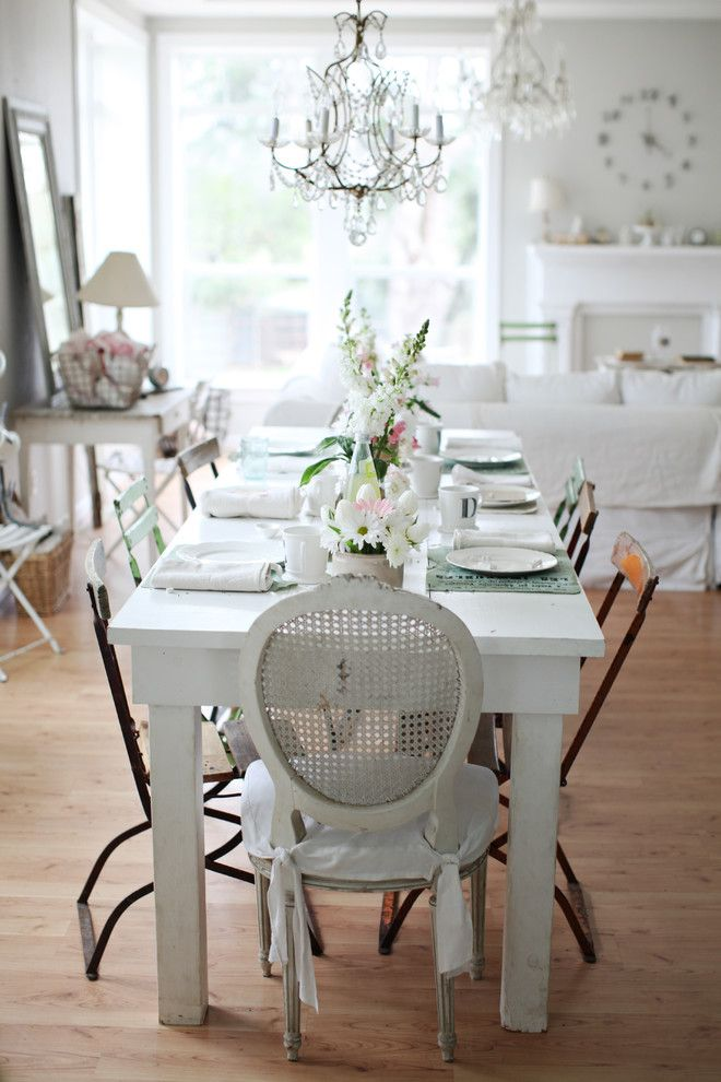 Shabby Chic Bamboo Flooring Dining Room Distressed Furniture Sanded Down Romantic Interior Decor Better Decorating Bible