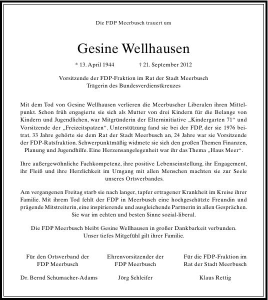 Gesine Wellhausen Nachruf Rp Trauer Rheinische Post Dusseldorf Nachruf Beispiele Trauerrede Traueranzeigen