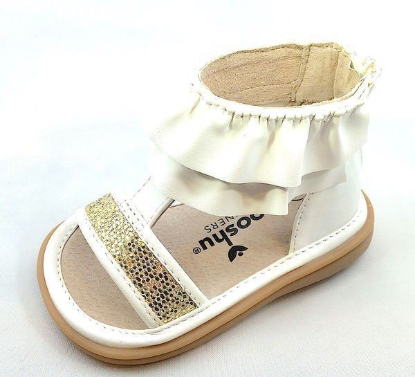 MOOSHU Trainers Squeaker Shoes NEW White Lucy Sandal Sz 3-9 Squeaky Easter
