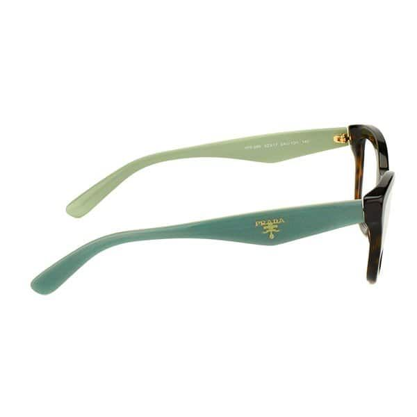 f7f39f3995 Shop Prada PR 29RV 2AU1O1 Havana On Green Plastic Cat-Eye 54mm Eyeglasses -  Free