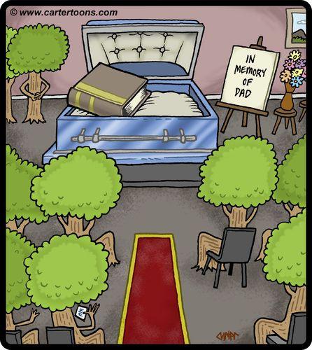 funerals in cartoons | Cartoon: Tree Funeral (medium) by cartertoons tagged tree,book,funeral ...