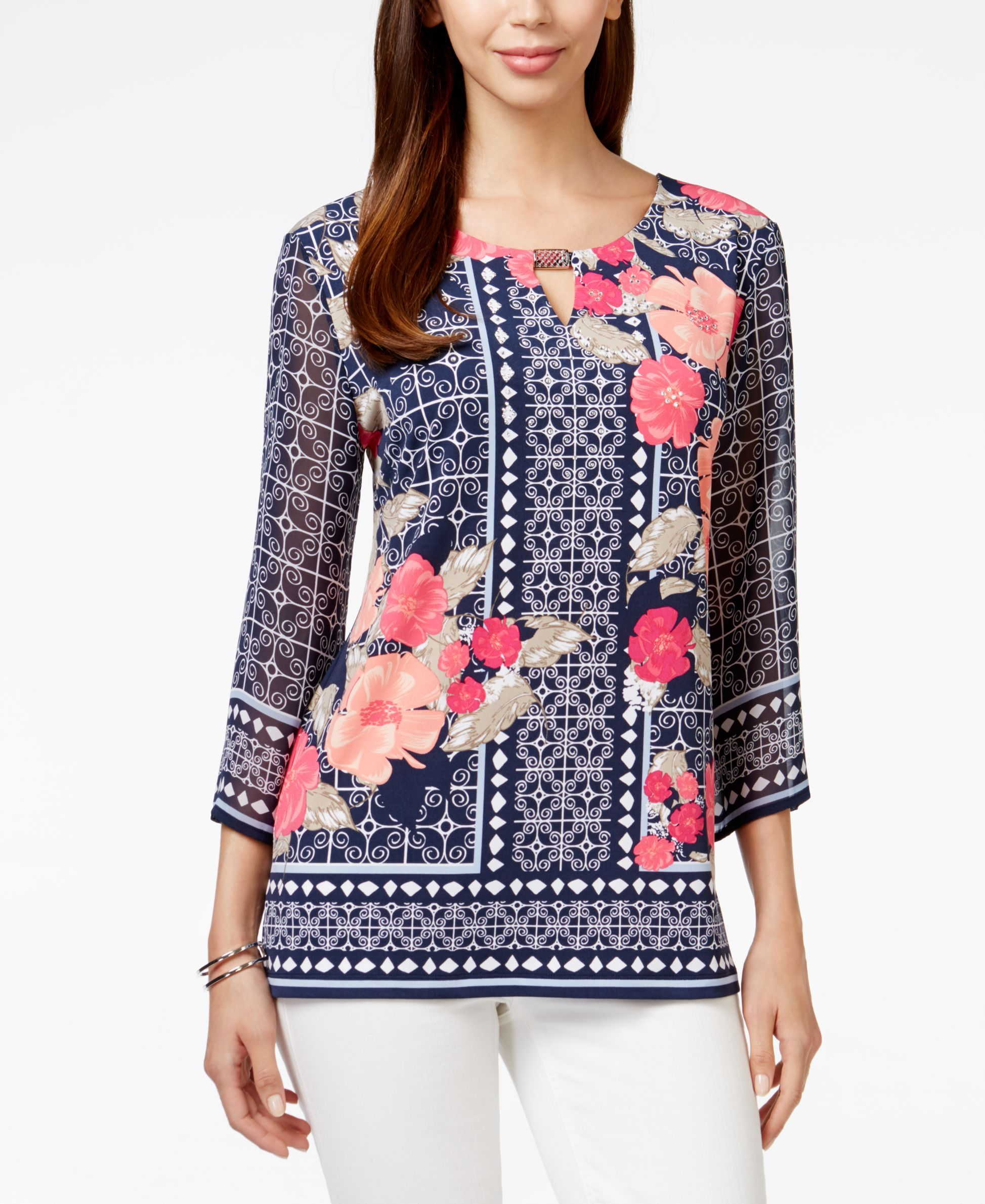 JM Collection Embellished Tunic, Created for Macys in