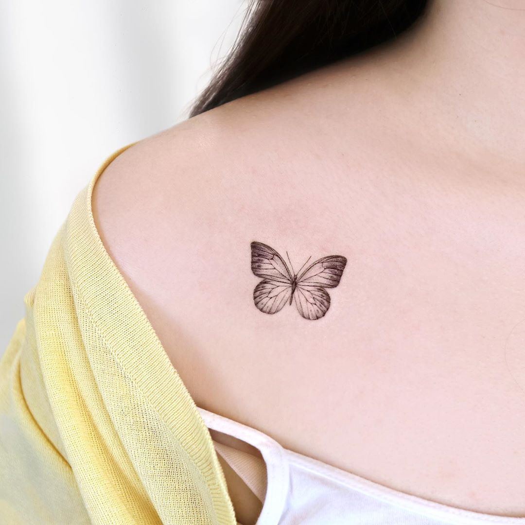 "Pallets on Instagram: ""✨ ʙᴜᴛᴛᴇʀғʟʏ ✨ ㅤ Tattoos # # # Butterfly Tattoo Design Tattoos Shoulder"