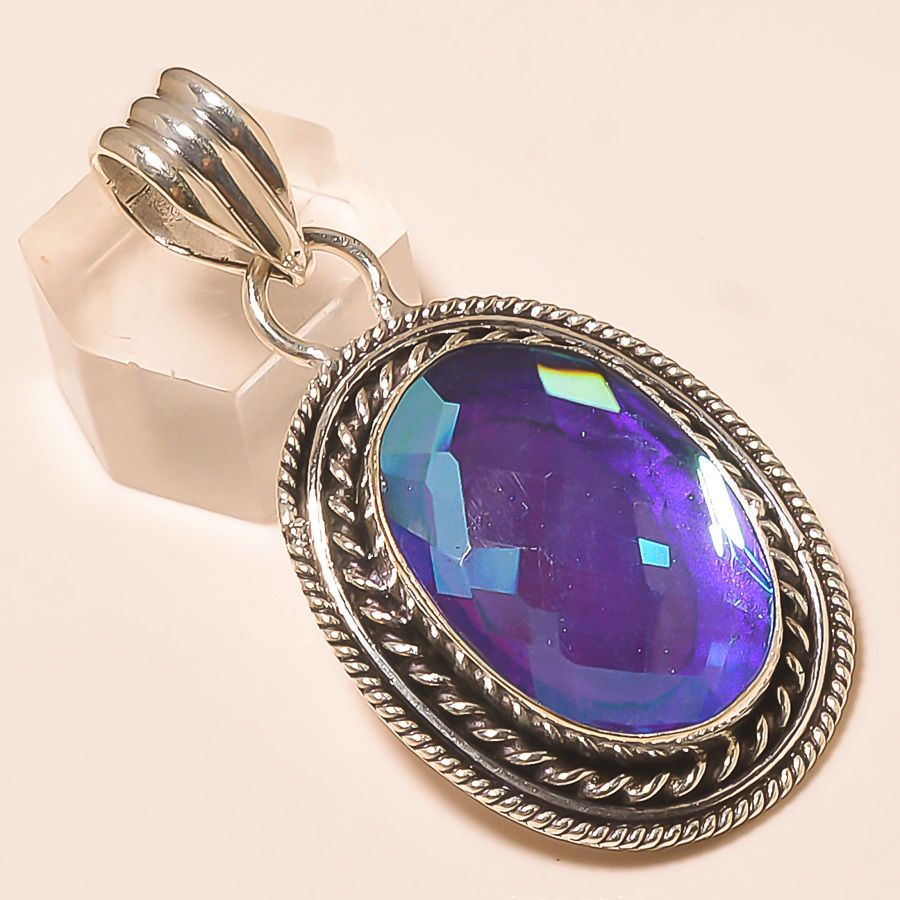 and topaz sterling gemstone silver white pendant mystic cut fire concave