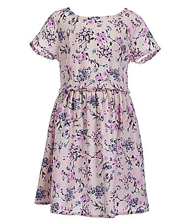 Copper Key Little Girls 46X ShortSleeve FloralPrint Knit Skater Dress #Dillards