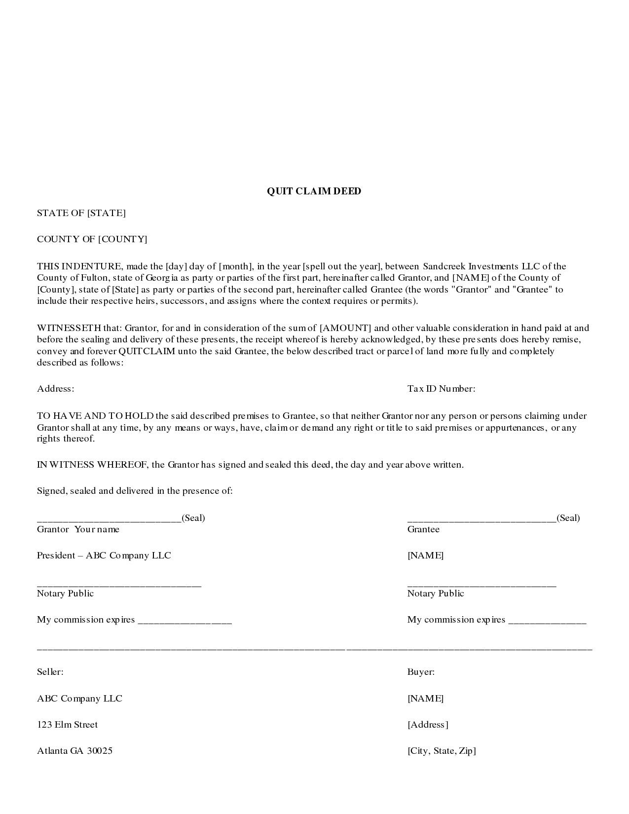Quit Claim Deed Form Free Download
