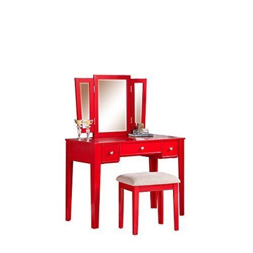 red modern vanity set with stool and 3 mirrors makeup dressing table ebay add