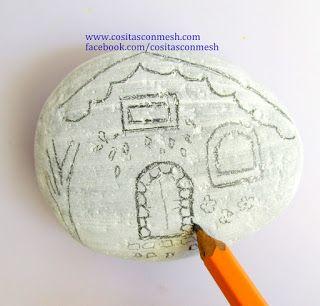 Aprende cómo pintar casitas sobre piedras paso a paso #painting